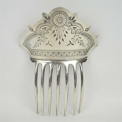 1876-80 Kennard & Jenks Sterling Silver Ornate Haircomb Aethstetic Movement