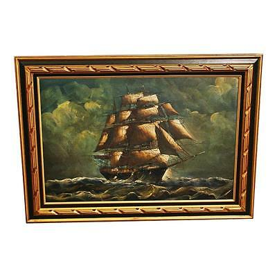 Vintage CLIPPER SHIP PAINTING Oil on Canvas framed wall art nautical maritime 24