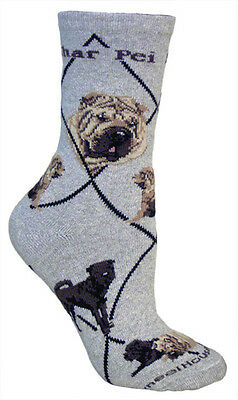 SHAR PEI SOCKS - gray background, American made, 75% cotton