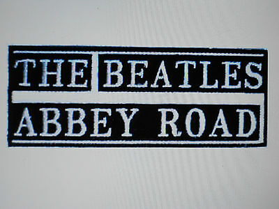 "The Beatles Abbey Road Embroidered Logo Black And White Patch 4 1/8""x1 5/8"" New"