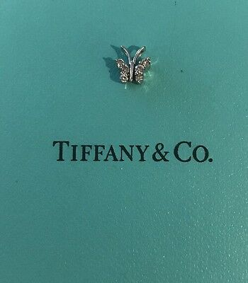 Vintage Tiffany Co Logo Butterfly With Diamonds In 10k White Gold Pendant