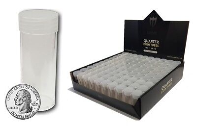 Sealed Box 100 Round US Quarter Coins Tubes Lot Rolls Max Pro Clear Plastic New