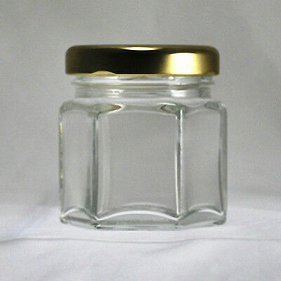 Hexagonal Glass Jars 1-1/2 oz (45 ml) with Gold-Colored Lids (Lot of 24)