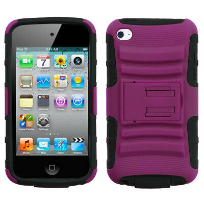 For Apple iPod Touch 4th Gen 4G Hot Pink/Black Advanced Armor Stand Case Cover
