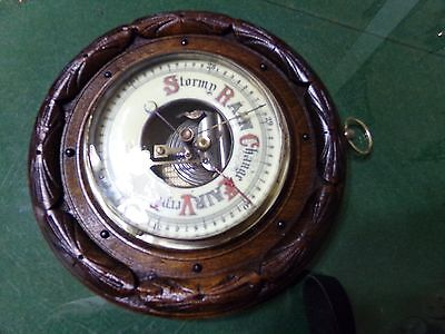 Mid To Late 1800s Porcelain Face Wooden And Brass Barometer