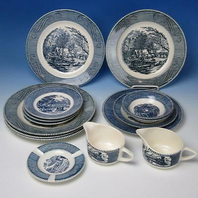 Royal China - Currier & Ives - The Old Grist Mill - 16 Pieces - Plates/Bowls/Ash