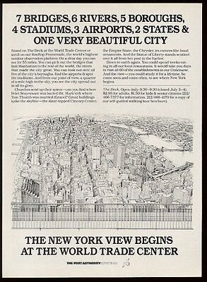 1986 World Trade Center New York City view from roof deck art vintage print ad