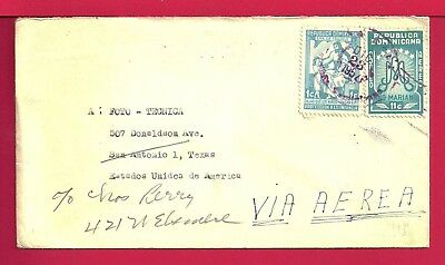 1957 Dominican Republic Multi Franked Air Mail Cover To Usa