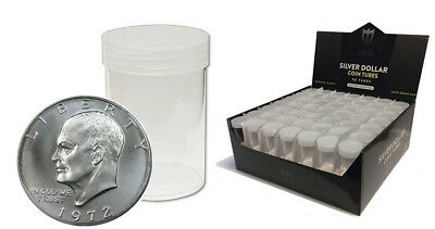 (5) Max Premium (Silver Dollar) Round Clear Plastic Coin Holder Storage Tubes
