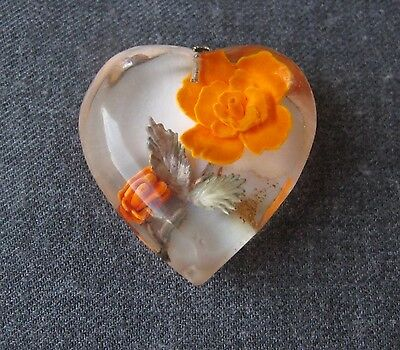 Vintage Reverse Carved & Painted Flower & Leaves Heart Shaped Lucite Pendant
