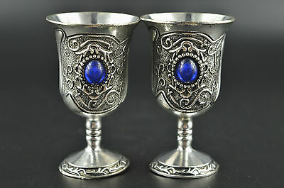 Chinese Miao silver Carving inlaid Blue Pearl wine Glasses Cups