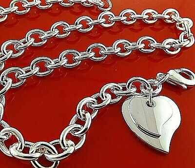 925 Sterling Silver Necklace Chain S/F Solid Ladies T'Bar Celtic Heart Design
