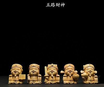 D032 - 6*5.5*4.5 CM Stunning Boxwood Carving: Set of 5 Immortals of Treasure