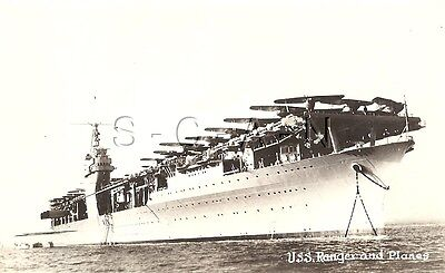 WWII Original Navy EKC RPPC- Aircraft Carrier- USS Ranger & Airplanes- 1930s-40s
