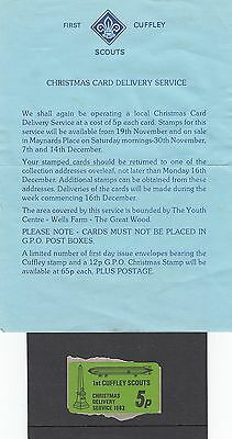 (81276) Cuffley Scouts Christmas Post 1983 5p Etikett und Brief