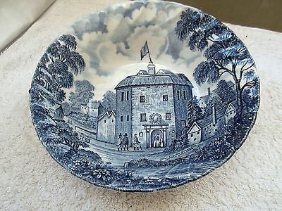 Royal Essex Blue And White Dessert / Cereal Bowl Showing Globe Theatre In 1599