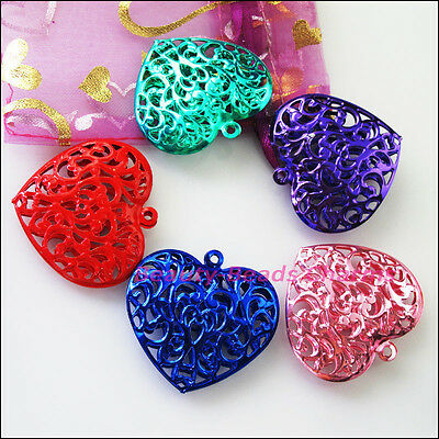 2 New Charms Red Pink Purple Blue Green Big Hollow Flower Heart Pendants 38x40mm