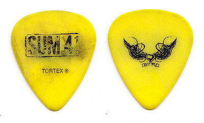 Sum 41 Deryck Whibley Tattoo Concert-Used Yellow Guitar Pick - 2012 Tour