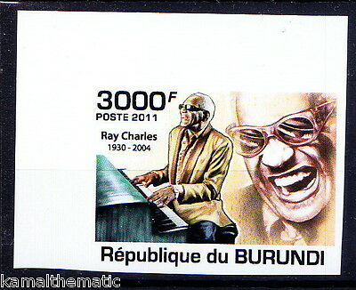 Burundi MNH Imperf, Music, Ray Charles, The Genius, American singer, songwr -M63