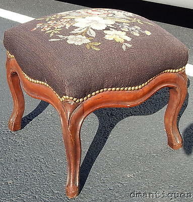Vintage Carved Solid Walnut Ottoman Foot Stool Needlepoint Flowers Cabriole Leg