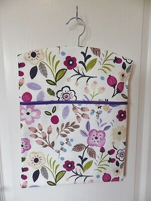 """Hand Made Peg/Hanging Storage Bag Lined & Zipped Approx.12.5"""" x 16"""" Multi Floral"""