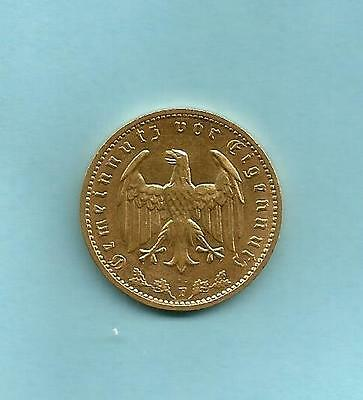 German * Nazi  ** 1934 F . ** 1 Mark Coin  **. 24 K Gold Plated ..
