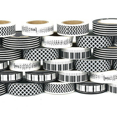 10m Black white Paper Washi Tape Masking Adhesive Decorative Scrapbooking Craft