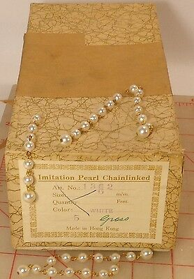 """720 vintage linked plastic pearl beads 3"""" beaded necklace chain extenders dangle"""