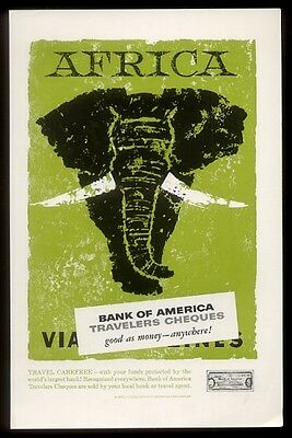1957 Africa African elephant art Bank of America vintage print ad