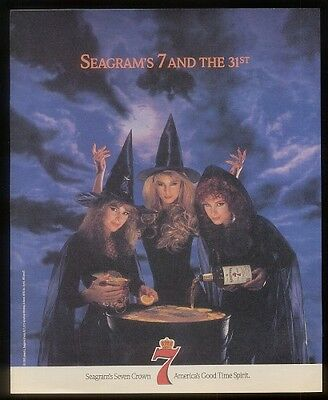 1989 Halloween witch 3 beautiful women photo Seagram's 7 whiskey ad