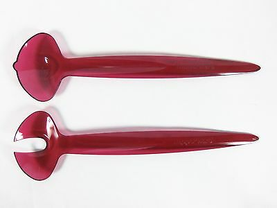 Tupperware Sheerly Elegant Acrylic Serving Salad Tongs Cranberry Fork & Spoon