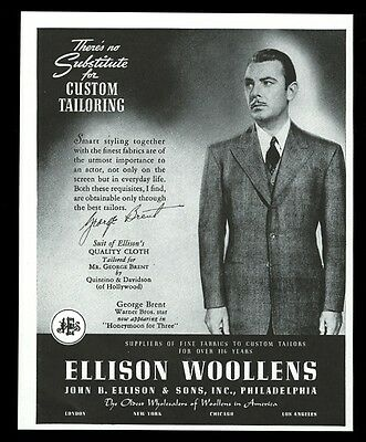 1940 George Brent photo Ellison Woollens men's suit fashion vintage print ad