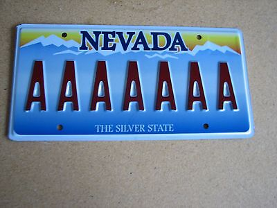 """NEVADA Vanity License Plate """" AAAAAAA """" REPEATING LETTER A SEVEN A'S"""