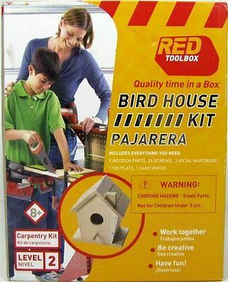 Red ToolBox Do It Yourself Wooden Birdhouse - Level 2 Kit Ages 8 + NIB!