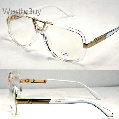Crystal Gold DMC Square Gazelle Clear Lens Frame Glasses Fashion Designer Club