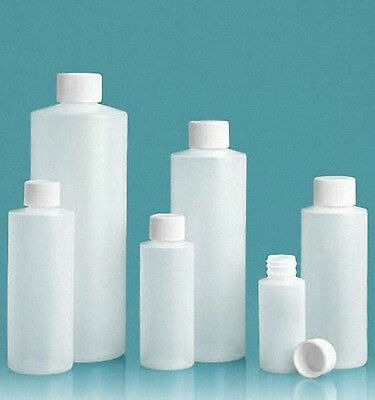 8 oz (240 ml) HDPE Plastic Bottles with CAPS (Lot of 12) You choose Cap Style