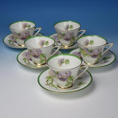 Royal Doulton China Glamis Thistle H4601 Pattern - 5 Deco Handled Cups & Saucers