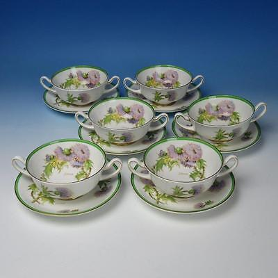 Royal Doulton China Glamis Thistle H4601 Pattern - 6 Cream Soup Bowls w/Liners