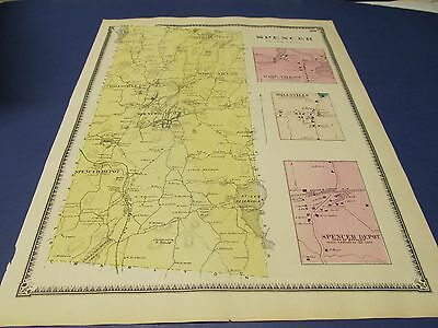 Antique 1870 map of Spencer  Ma by Beers.