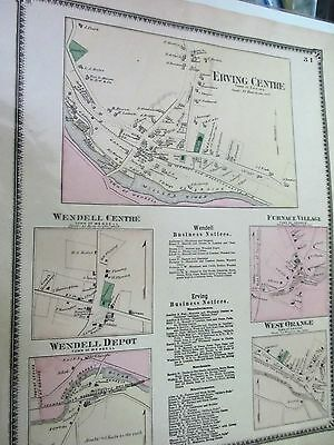 1871 map of Erving and Wendell village sections Massachusetts original