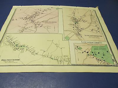 1870 original map of Lancaster Ma. villages by Beers