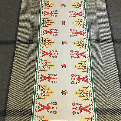 Antique Swedish Christmas Runner Yarn Santas Holding Flowers Candle Holder