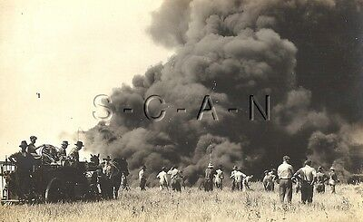 Original Vintage Oil Field AZO RPPC- Oil Field on Fire- Horse Drawn Fire Truck
