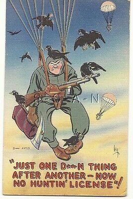 WWII Original Linen Army PC- Paratrooper- Parachute Troops- No Hunting License
