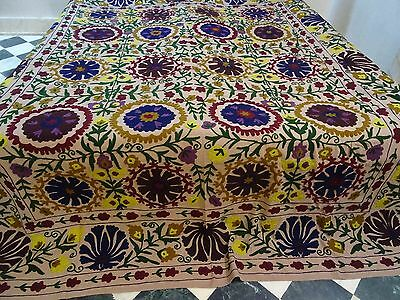 Suzani Hand Embroidered Quilt Queen Bedding Vintage Blanket Bohemian Throw 102