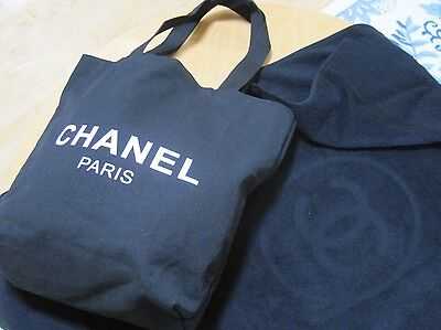 NEW CHANEL Black Cotton Large Bath/Beach Towel Made in Italy with TOTE BAG RARE*