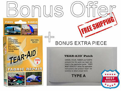 Tear Aid Type A Retail Kit Plus Bonus Piece, Repair Tent, Pack, Sail, Swag, Kite