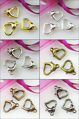 10 New Connectors Heart Lobster Clasps 12x14mm Gold Silver Bronze Black Plated