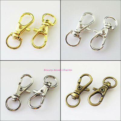 4 New Gold Silver Plated Lobster Claw Clasps Key Chain Connectors 12x32.5mm