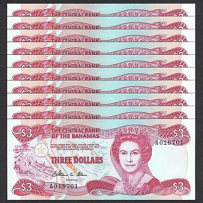 1974 (1984) Bahamas 3 Dollars P-44 Unc Lot 10 Pcs